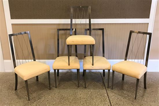 FIVE DESIGN INSITUTIE OF AMERICAN CHROME DINING CHAIRS WITH CROSS CABLE BACKS, 40