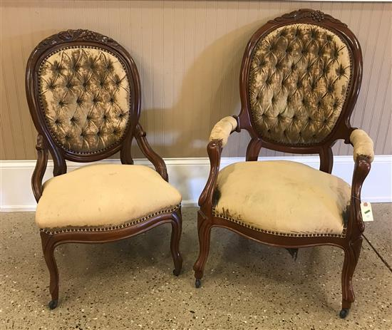 VICTORIAN LADIES AND GENTS CHAIRS WITH WORN GOLD UPHOLSTERY