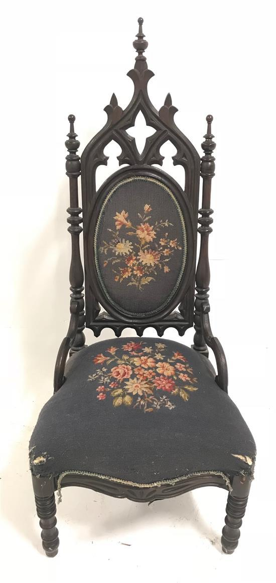 CARVED CATHEDRAL STYLE CHAIR WITH BLUE NEEDLEPOINT UPHOLSTERY, 47