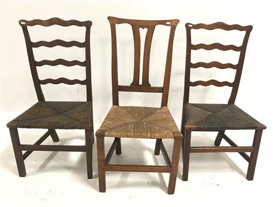 3 RUSH SEAT CHAIRS INCLUDING QUEEN ANN STYLE