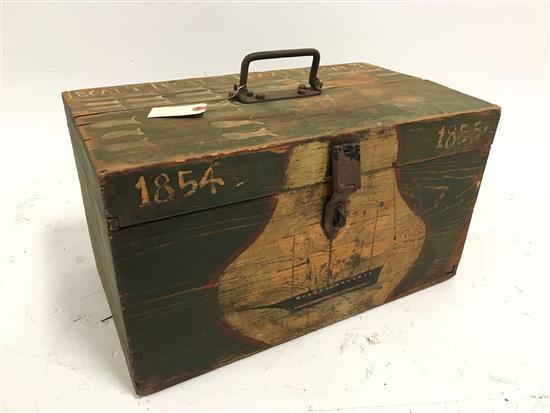 EARLY NEW ENGLAND DOVETAILED PINE WHALER'S CHEST DATED 1854-1855 WITH SHIP PAINTING ON FRONT, 21.5