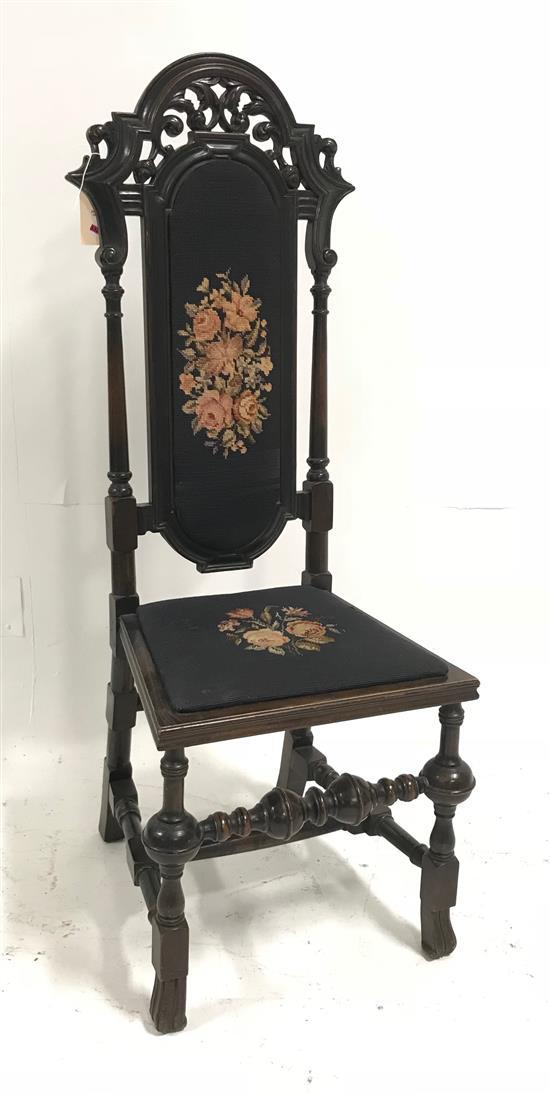 CARVED HIGH BACK CHAIR WITH BLUE NEEDLEPOINT UPHOLSTERY, 50