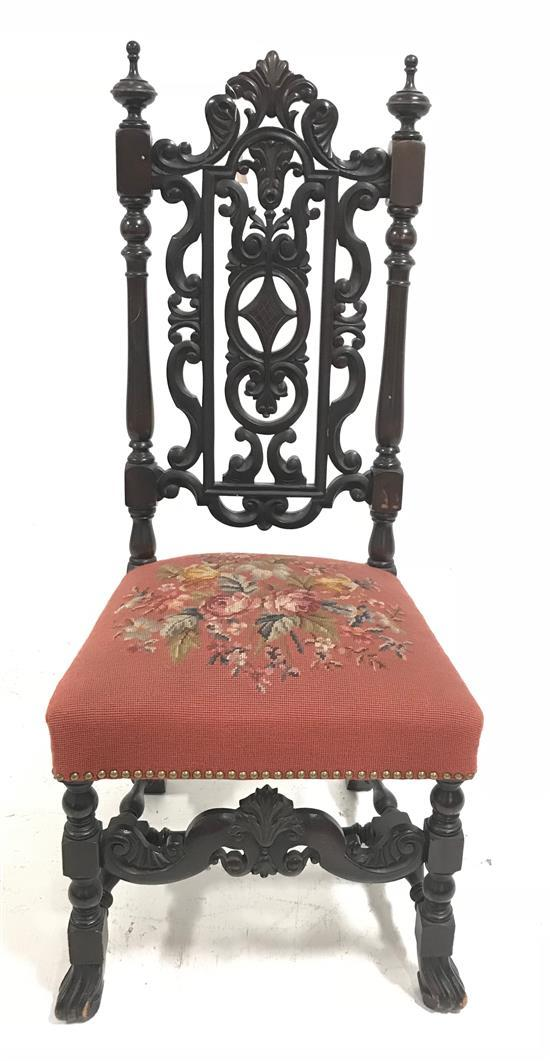 HIGH BACK CARVED CHAIR WITH PINK NEEDLEPOINT UPHOLSTERY, 47