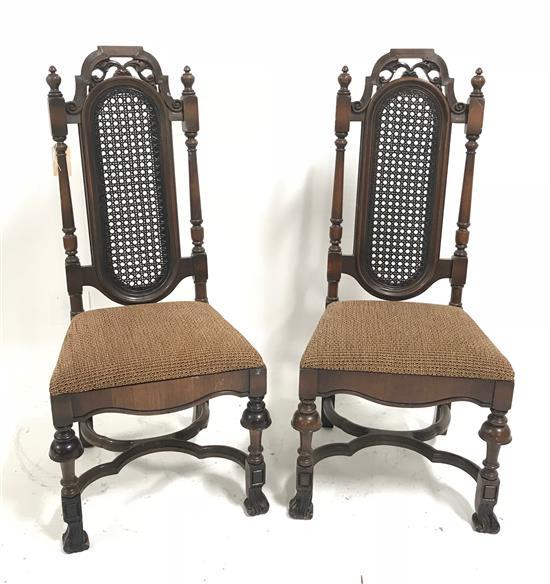 PAIR HIGH BACK CHAIRS WITH CANED BACKS, 46