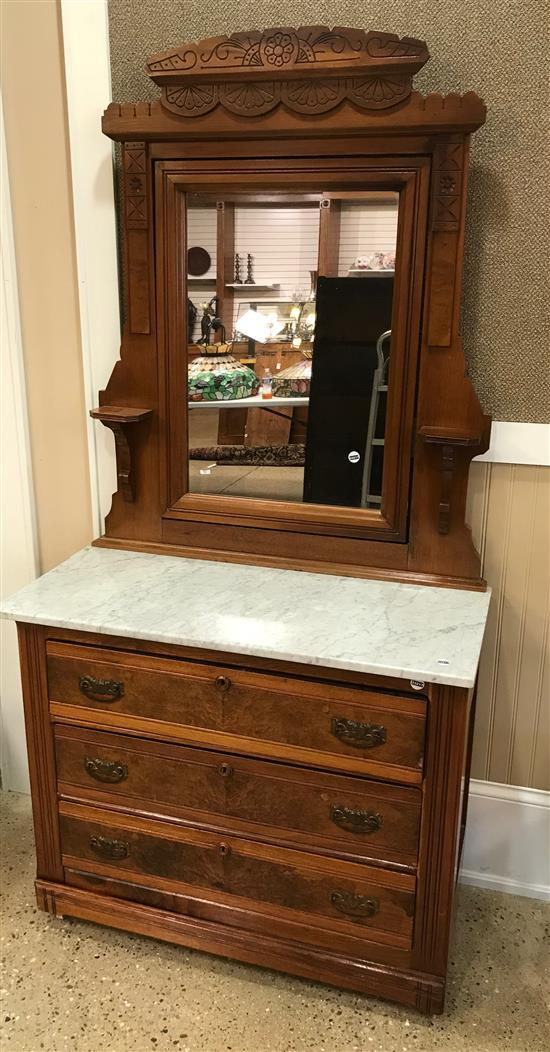 WALNUT EASTLAKE 3-DRAWER DRESSER WITH MIRROR AND MARBLE TOP, 39