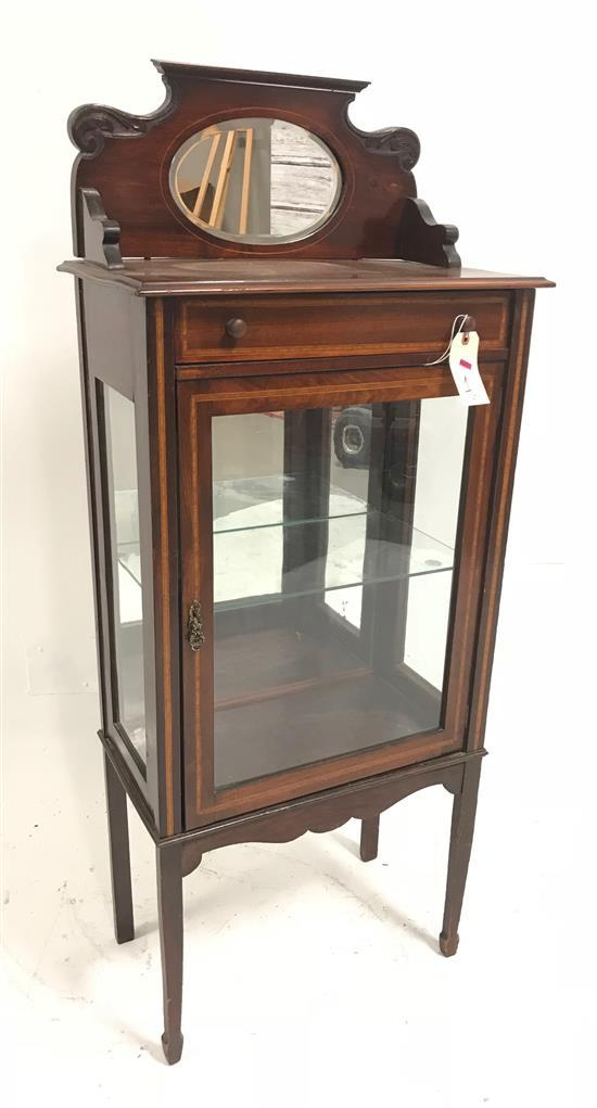 MAHOGANY DISPLAY CABINET WITH INLAY AND OVAL MIRROR, 22