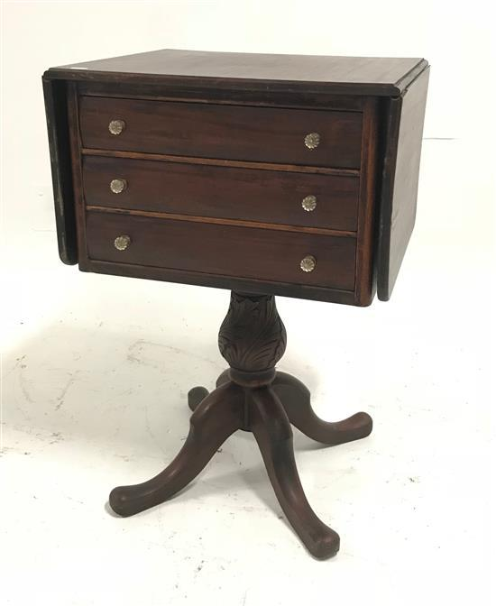 VICTORIAN 3-DRAWER DROP LEAF SEWING STAND WITH GLASS KNOBS, 20