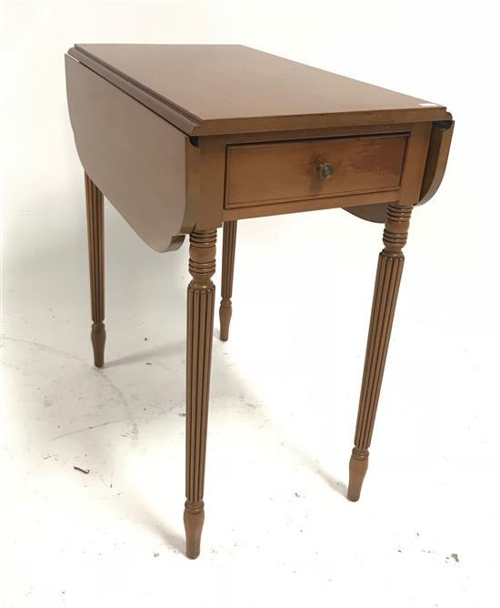 CHERRY ONE-DRAWER DROP LEAF STAND WITH REEDED LEGS, 14.5