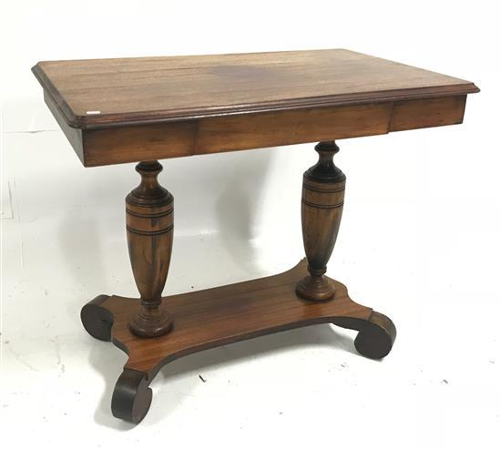 MAHOGANY ONE-DRAWER TABLE WITH STRETCHER BASE, 36