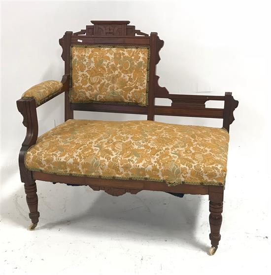 WALNUT EASTLAKE VICTORIAN HALL SEAT WITH FLORAL TAPESTRY UPHOLSTERY,37