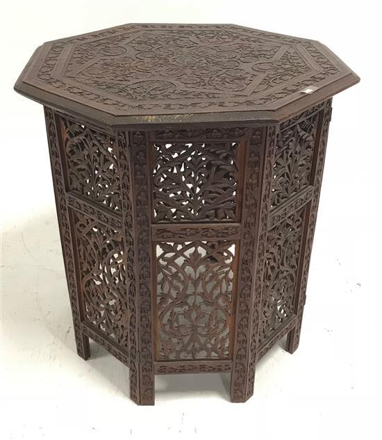 HIGHLY CARVED ASIAN HEXAGONAL STAND WITH FOLDING BASE, 24