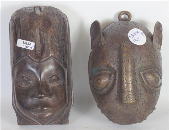AFRICAN TRIBAL ART, HAND CARVED WOOD FIGURE OF WOMENS FACE, WHEARING A SCARF, APPROX. 6.5