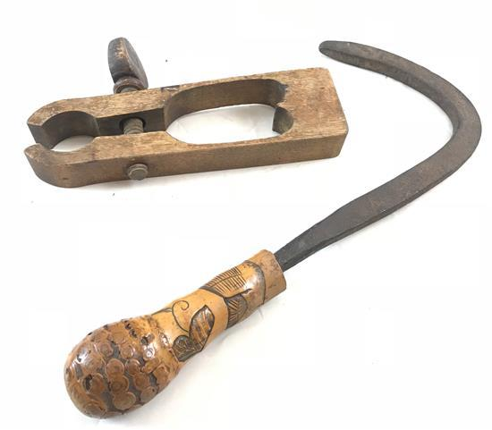 1800's HAY HOOK WITH CARVED FOLK ART HANDLE INCLUDING DOVES, LEAVES AND WOODEN CARVED HEART SHAPED FOLK ART CLAMP, PA. ORIGIN, C.1800s