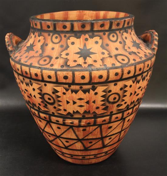 LARGE POTTERY FLOOR VASE WITH PAINTED GEOMETRIC RUST AND BLACK DECOR, 17