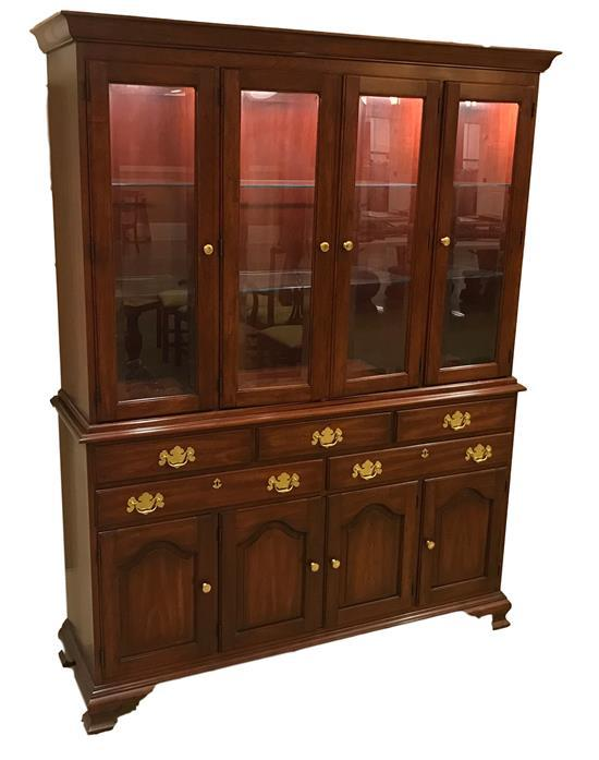 HENKEL-HARRIS WILD BLACK CHERRY TWO-PIECE CHINA CABINET WITH GLASS FRONT DOORS AND DRAWER WITH CUTLERY INSERT, 60