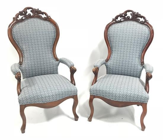 PAIR VICTORIAN OPEN ARM CHAIRS WITH CARVED CREST AND BLUE PATTERN UPHOLSTERY, 48