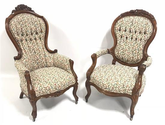 2 VICTORIAN ARM CHAIRS WITH MATCHING UPHOLSTERY AND NON-MATCHING CARVING, 40