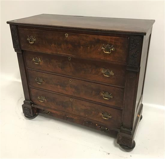 5-DRAWER MAHOGANY EMPIRE CHEST WITH FLOWER CARVINGS, 44