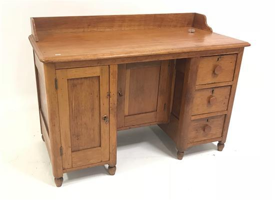 EARLY COUNTRY WOODEN DESK WITH 3 DRAWERS AND 2 DOORS, 48
