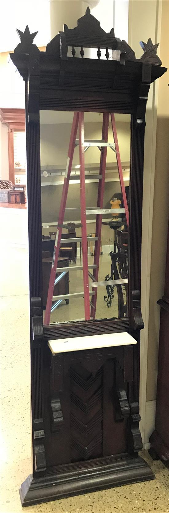 WALNUT EASTLAKE VICTORIAN HALL MIRROR, REPLACED PORCELAIN TOP, 90