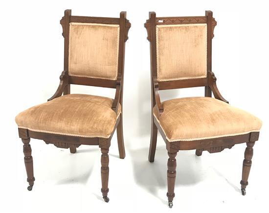 PAIR VICTORIAN CHAIRS WITH TAN UPHOLSTERY