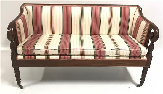 MAHOGANY SHERATON SETTEE WITH ROPE TURNED LEGS AND STRIPED UPHOLSTERY, 53
