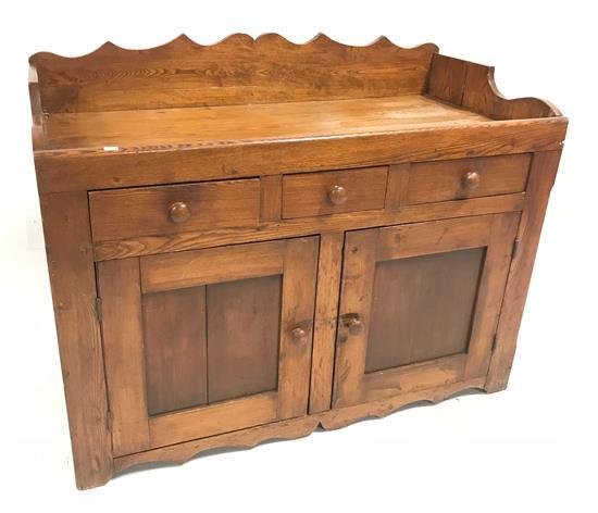 CHESTNUT DRY SINK WITH SCALLOPED BACK AND 3 DRAWERS, 48