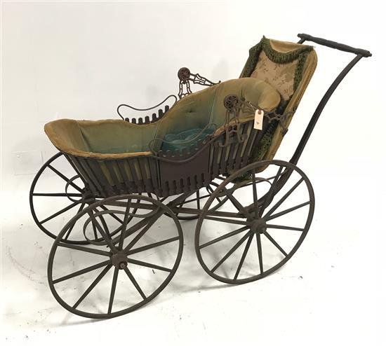 VICTORIAN WOODEN WHEEL BABY BUGGY BY HASKELL BROS. WITH ORIGINAL UPHOLSTERY, 54