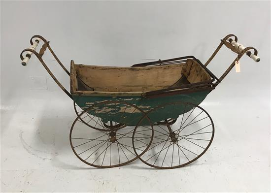 VICTORIAN HIGH WIRE WHEEL BABY CARRIAGE WITH PORCELAIN HANDLES AND OLD GREEN PAINT, 56
