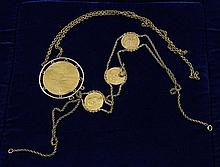 2 GOLD NECKLACES WITH FOREIGN GOLD COINS