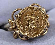 MEXICAN GOLD COIN SET IN 10K RING, 5.31 GRAMS TW