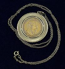 1888 GERMAN STATES 20 MARK .900/14.2 GRAMS IN 14K BEZEL WITH CHAIN