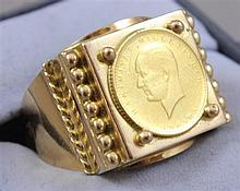 1923 TURKISH GOLD COIN SET IN 18K GOLD RING,  8.29 GRAMS TW