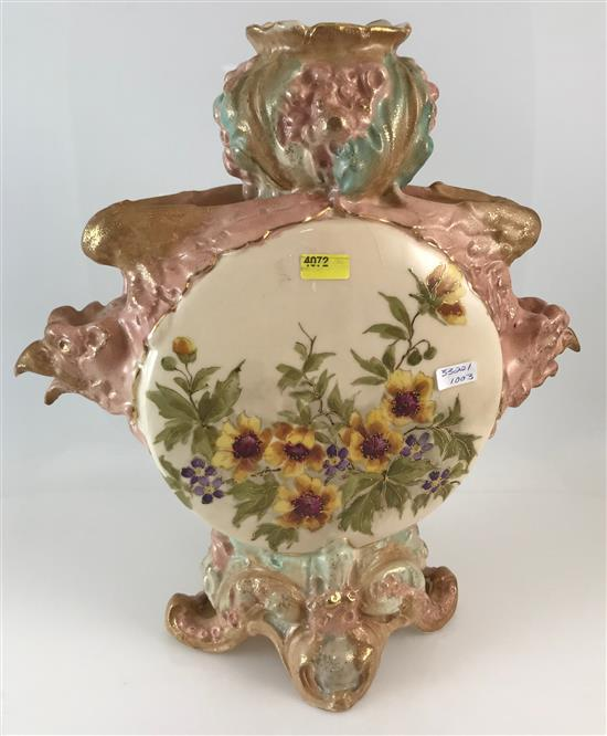ROYAL RUDOLSTADT FOOTED PORCELAIN VASE WITH FLORAL MOTIF AND BIRD HEAD HANDLES, 13.25
