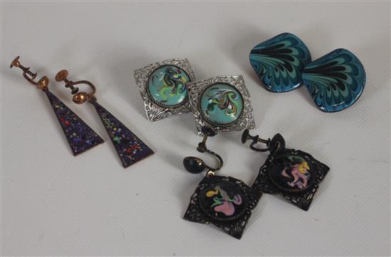 BOX LOT FOUR PAIR ASSORTED ART EARRINGS.
