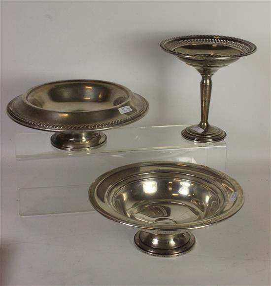 THREE PIECES STERLING WEIGHTED HOLLOWARE SERVING DISHES. PIECES FROM HAMILTON AND LA PIERRE.