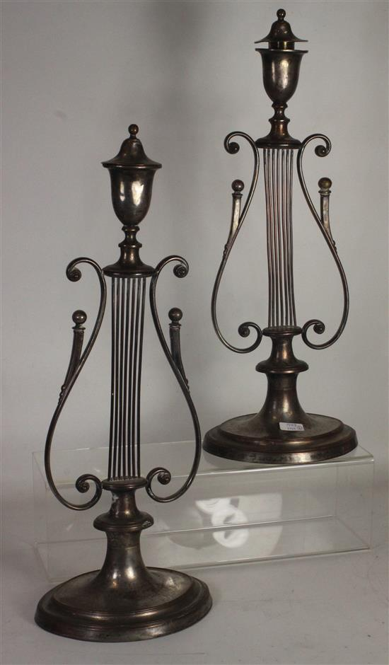 PAIR OLD SHEFFIELD PLATE 15.5