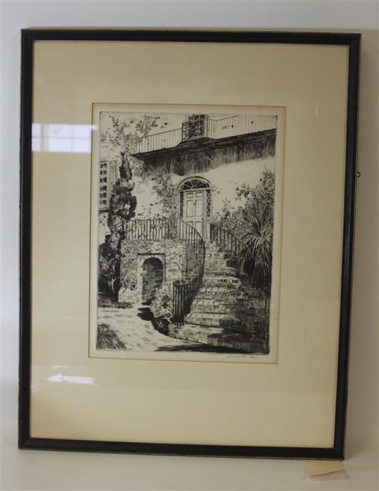 ALFRED HUTTY (1877 - 1954) ETCHING OF HUTTY RESIDENCE DATED ON VERSO APRIL 5, 1951, ARTIST SIGNED, IMAGE SIZE 7 3/4