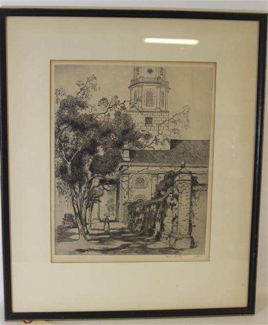 ALFRED HUTTY (1877 - 1954) ETCHING OF ST. MICHAELS CHURCH CHARLESTON, SOUTH CAROLINA, DATED ON VERSO APRIL 2, 1951, ARTIST SIGNED, I...