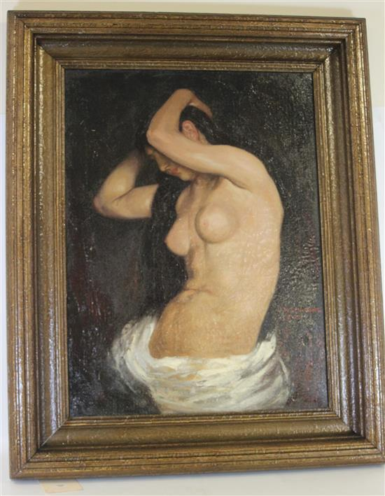 EARLY 20TH CENTURY OIL ON CANVAS NUDE SIGNED M.H. PARSONS 6-25 WITH OLD STRETCHER, IMAGE SIZE 17 1/2