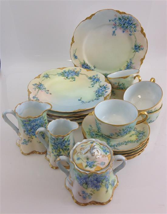 20 PIECES HAVILAND LIMOGES DISHES WITH FORGET-ME-NOT HAND PAINTED DECOR