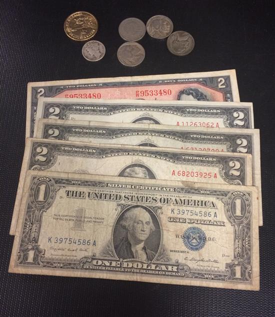 MIXED LOT INCLUDING 2 SERIES 1953 AND 1 SERIES 1963 TWO DOLLAR RED SEAL NOTES, SERIES 1957 ONE DOLLAR SILVER CERTIFICATE, CANADIAN N...
