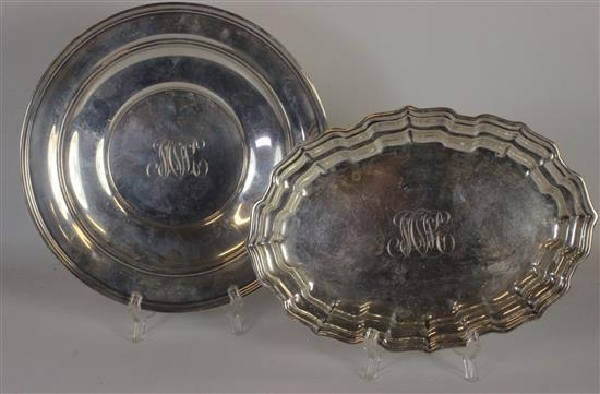 TWO UNMATCHED STERLING SILVER SERVEWARE PLATES INCLUDING: A 7