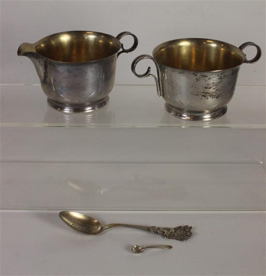 LOT FOUR STERLING SILVER PIECES INCLUDING: MATCHED CREAM AND SUGAR SET MARKED
