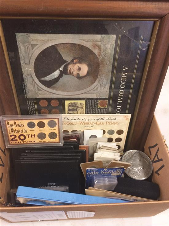 MIXED LOT INCLUDING FIRST DAY COVERS, UNCIRCULATED U.S. CENTS, FIRST COMMEMORATIVE MINT FOLDERS, UNCIRCULATED DIMES, SOUVENIR COIN S...