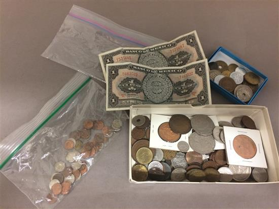 MIXED LOT TOKENS AND FOREIGN COINS AND CURRENCY