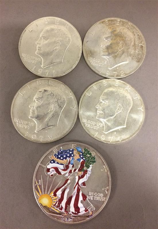 †MIXED LOT INCLUDING 4 EISENHOWER SILVER DOLLARS (1971S-1974S) AND 1991 AMERICAN SILVER EAGLE *tax exempt*