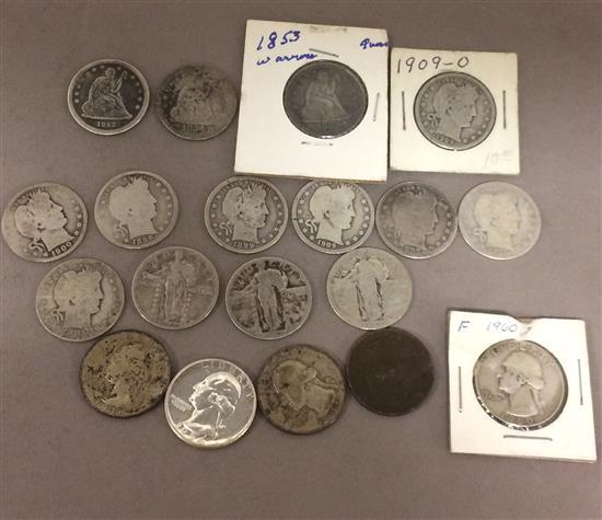 †19 U.S. QUARTERS INCLUDING 1842O, 1853, AND 1854 SEATED LIBERTY, 8 BARBER, 3 STANDING LIBERTY, AND 5 WASHINGTON *tax exempt*