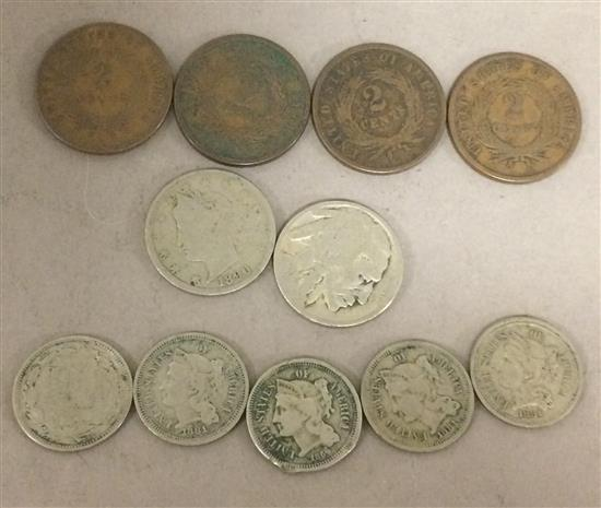 MIXED LOT INCLUDING (5) 3-CENT NICKELS, 1890 LIBERTY V AND NO DATE BUFFALO NICKELS, AND (4) 1865 2-CENT PIECES