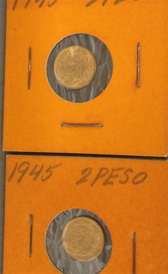 †(2) 1945 MEXICO DOS PESOS GOLD COINS, .900 GOLD, 1.67g EACH *tax exempt*